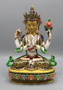 Masterpiece Gold Plated Four Armed Chenrezig Statue 13 High