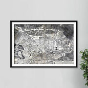 Vintage Map Of Nottingham From 1744 Photo Print Poster Gift Old Ancient Historic