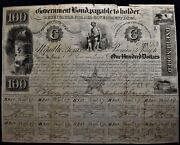 1840 Republic Of Texas 100 Bond 443 With Interest Coupons.