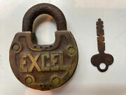 Old Vintage Rare Excel Padlock Brass Lock F7 With Working Key Antique Cool Look