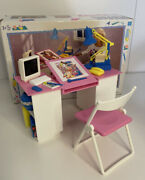 Vintage Sindy Doll Work Desk And Chair Set W/ All Accessories Box Hasbro 90s Rare