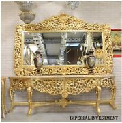 Console - Gold Console With Mirror In Wooden Frame Mb1000