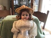"""Antique German 21.5""""doll Bisque Head Leather Body Marked Lowered Price"""