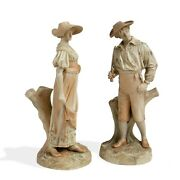 Large Royal Worcester Hadley C 1888 Harvester Figurines Man And Woman 13/14.5