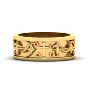Anchor And Holy Cross Band For Men Nautical Rope Anchor Wedding Band Yellow Gold