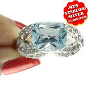 Hsn Victoria Wieck 4.66ct Sky Blue Topaz And White Zircon Wing Ring Sz 10