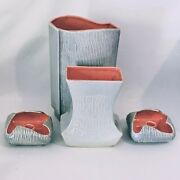 Mid Century Red Wing Pottery Textura Collection Vases Candle Holders Gray Pink