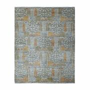 8'x10' Gray Willow And Cypress Tree Design Natural Wool Hand Knotted Rug G55011
