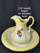 Antique R S Prussia Pitcher And Wash Bowl Basin Sunny Yellow With Painted Roses