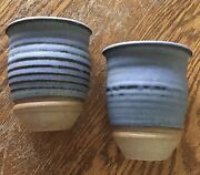 2003 J Mills Indiana Brown County Pottery Set/2 Wall Pockets Blue Black Awesome