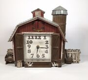 Vintage 1976 Burwood Products Barn Farmhouse Silo Wall Clock Made In Usa Tested