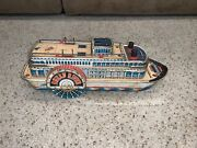 Queen River Trade Mark Modern Toys Made In Japan Battery Operated Ferry Boat Tin