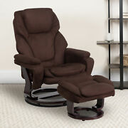Multi-position Recliner And Ottoman With Swivel Wood Base