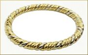 14k T/t Gold 26.13 Gram Italian Made Hinged Solid Twisted Bangle Bracelet 6 1/2