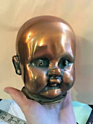 Vintage Copper + Brass Baby Doll Head Factory Mold Shiny Spooky