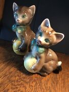 Vintage Pair Royal Copley Ceramic Cat Kitten With Ball Of Yarn Planter Figurine