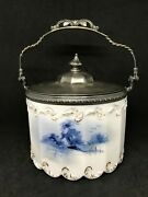 Mt. Washington/delft Opaque Glass Biscuit Jar With Handle And Lid-landscape Scene