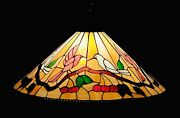 Vintage Stained Glass Hanging Light Ceiling Cone Chandelier Xl 28andrdquo Birds