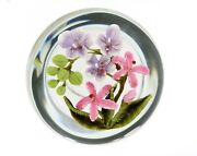 Clinton Smith Glass Paperweight Orchids Pink And Purple 2021