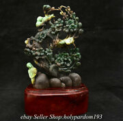 11.6 Chinese Natural Green Dushan Jade Carving Fengshui Flower Birds Statue