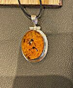 Jurassic Park Amber And Silver Mosquito Necklace