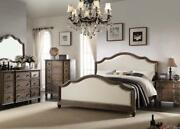 Bed Dresser Mirror Night Stand East King Size Bedroom Padded Fabric Modern Style