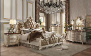 Antique Contrast Finish Traditional Bedroom Furniture Pearl Queen Size Bed 1pc