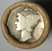 1916 Merc Dime/bu Wheat Penny End Lincoln Wheat Cent Roll Vintage Estate