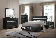 Contemporary 4pc Bedroom Set Black Finish Footboard Storage Queen Size Panel Bed
