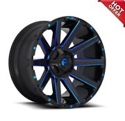 New 4ea 20x9 Fuel Wheels D644 Contra Gloss Black Blue Milled 20 20inch S15