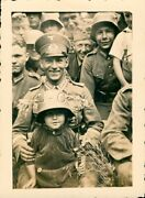 Org Wwii German Army Large Real Photo- Soldier- Youth Wears Helmet- Holds Knife