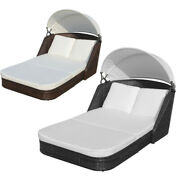 Sun Lounger With Canopy Poly Rattan Swimming Pool Chaise Lounge Patio Chair Bed