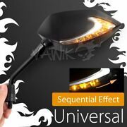 Vawik Lucifer Neat Stem Black Mirror Adjustable And Sequential Led Fits M10 1.25p