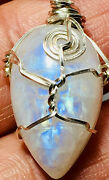 Junk Drawer Lot Mny0124 Rainbow Moonstone Pendant In Sterling Silver