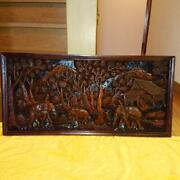 Bali Elephant Wood Carving Color Brown Length 95 Width 46 Cm Wall Hanging Used