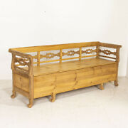 Antique Pine Bench With Storage From Sweden