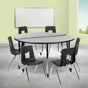Mobile 60 Circle Wave Collaborative Laminate Activity Table Set W/18 Student S