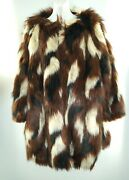 Elvi Patchwork Faux Fur Coat Size 22 Plus Multicolor Pockets Above Knee