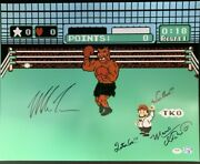 Mike Tyson Charles Martinet Signed Punch Out 16x20 Photo Mario Time' Psa Ai81192