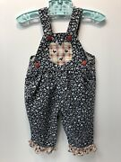 Vintage Liberty Overalls Blue/white Floral Chickens And Gingham Trim 12 Months Usa