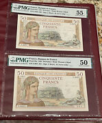 France French Running Pair 50 Francs 1937 Pmg 50 And 55 About Unc Pick 85a Rare