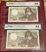 France French Running Pair 100 Franc 1942 Pmg 64 Unc Descartes Pick 101a Rare