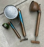 Vintage Lot Of Bug Sprayers Dusters Hudson Root Lowell Usa Glass And Galvanized