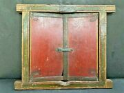 Old Vintage Rare Antique Handmade Iron Fitted Old Color Wooden Window Door