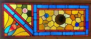 Antique Eastlake Stained Glass Window - 17 X 39