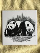 """Screencraft Screen Craft Tile Black And White Panda Bears About 6""""x6"""""""