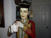 Antique Life Size Military Figurine In Cerimonial Uniform Carved Wood House Of