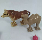 Vintage Ramp Walker Pull Toy Pair Camel And Bull/ Cow