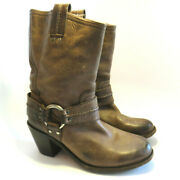 Frye Womenand039s Carmen Antiqued Brown Heeled Harness Western Boots 7.5 B
