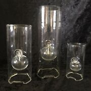 Vintage Set Of 3 Mid Century Wolfard Oil Lamps Hand Blown Glass Made In Usa